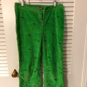 Preppy - Wide whale green pants with whales